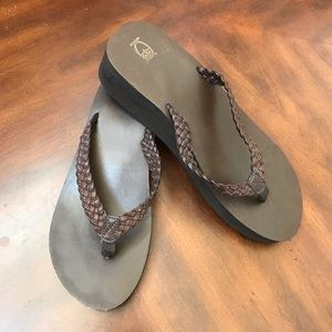 Brown leather like platform flip flops size 11